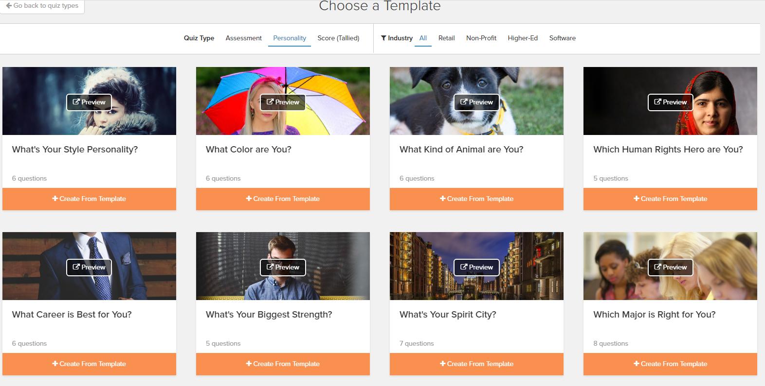 interact quiz templates